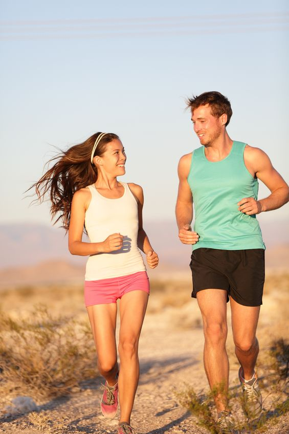 hapy jogging couple
